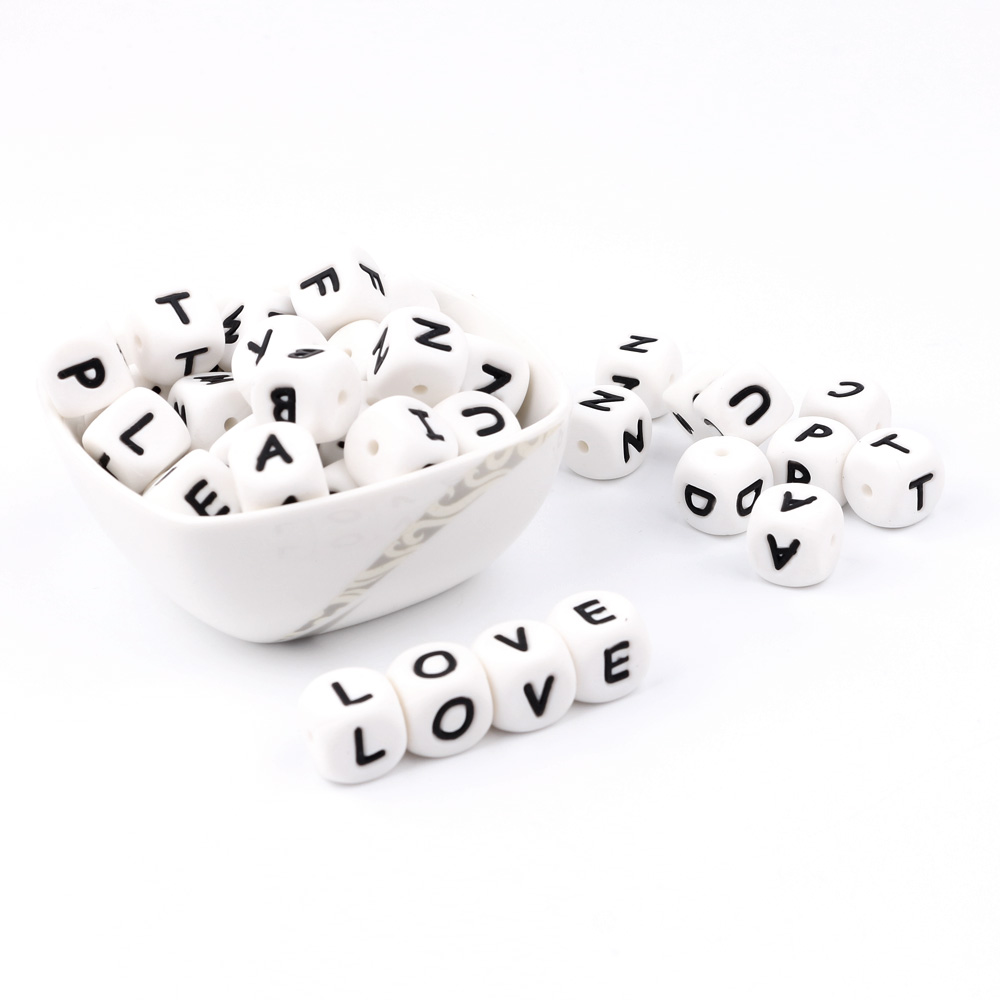 TYRY.HU 10000Pcs 12mm English Letter Beads Teething Nursing Loose Silicone Beads Chewing Pacifier Chain Teether Toy Food Grade