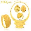 Ethlyn Большой Желтый золотые Ювелирные Изделия Устанавливает 24 К Настоящее Позолоченные Свадебные Ювелирные Изделия Указан Нигерии/Эфиопии/африканский свадьба
