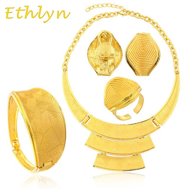 Ethlyn Big Yellow gold Jewelry Sets  24k Real Gold Plated Wedding Bridal Jewelry Set for Nigeria/Ethiopian/African wedding party