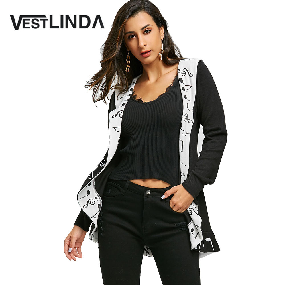 VESTLINDA New Jackets Female Autumn Winter Coats Women Music Notes Shawl Collar Curved Fashion Casual Long Sleeve Outerwear Tops