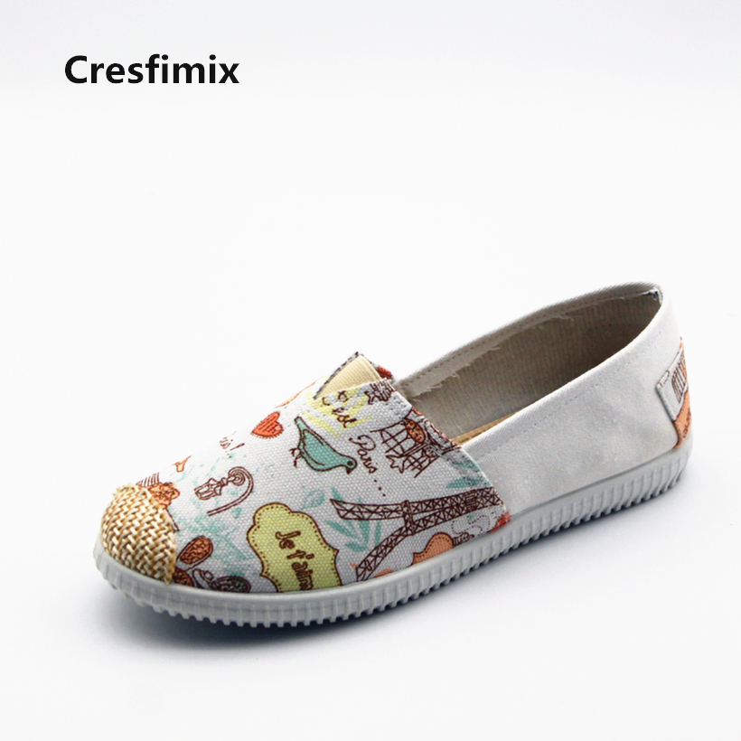 Cresfimix zapatos de mujer women cute spring & summer slip on loafers female cool bird canvas round toe flat shoes casual shoes cresfimix zapatos de mujer women fashion pu leather slip on flat shoes female soft and comfortable black loafers lady shoes
