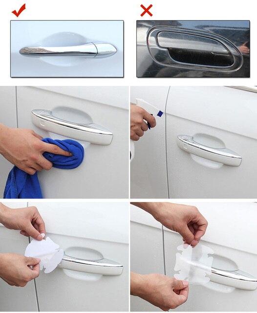 4Pcs/LOT Car Handle Protection Film Car Exterior Transparent Sticker Automotive Auto Accessories Car Styling Car sticker 3