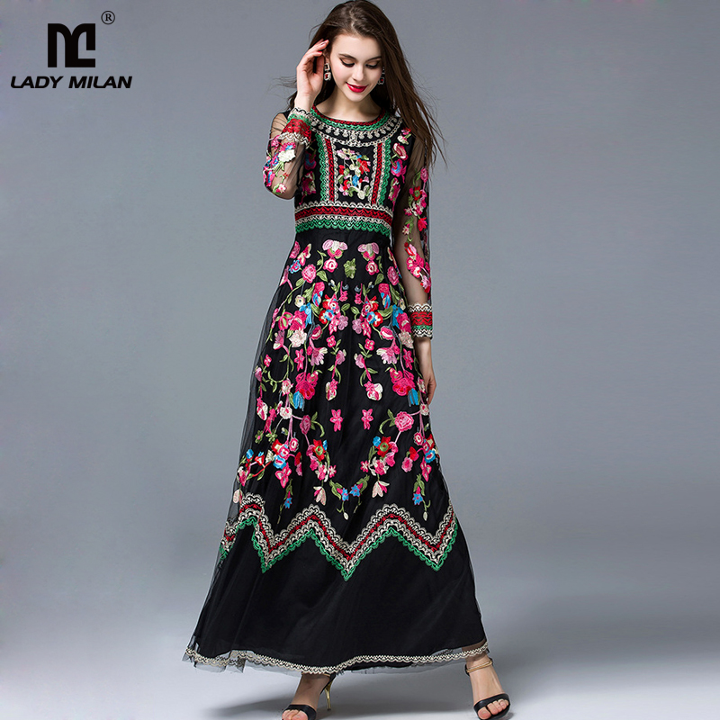 New Arrival 2018 Laides O Neck Long Sleeves Embroidery A Line Layered Elegant Maxi Runway Dresses in Two Colors Plus Sizes