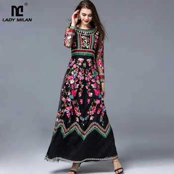 New Arrival 2019 Laides' O Neck Long Sleeves Embroidery A Line Layered Elegant Maxi Runway Dresses in Two Colors Plus Sizes - DISCOUNT ITEM  21% OFF All Category