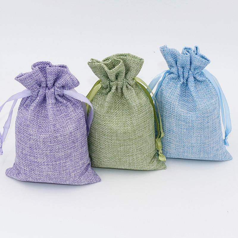 100Pcs/Lot 10x15cm Linen Drawstring Pouch Bag Custom Logo Printed Jute Bag