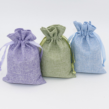 100Pcs/Lot 10x15cm Linen Drawstring Pouch Bag Custom Logo Printed Jute
