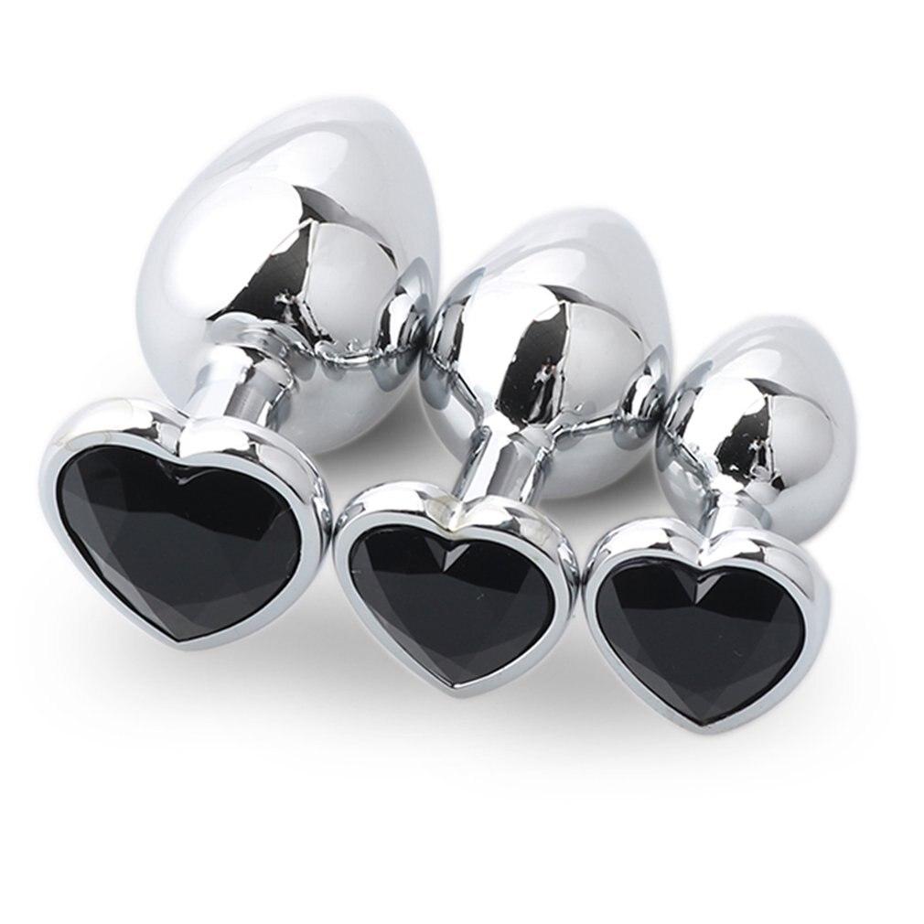 3 шт./компл. интимные украшения сердце Butt Plug металла анальный бусин с кристаллом про ...