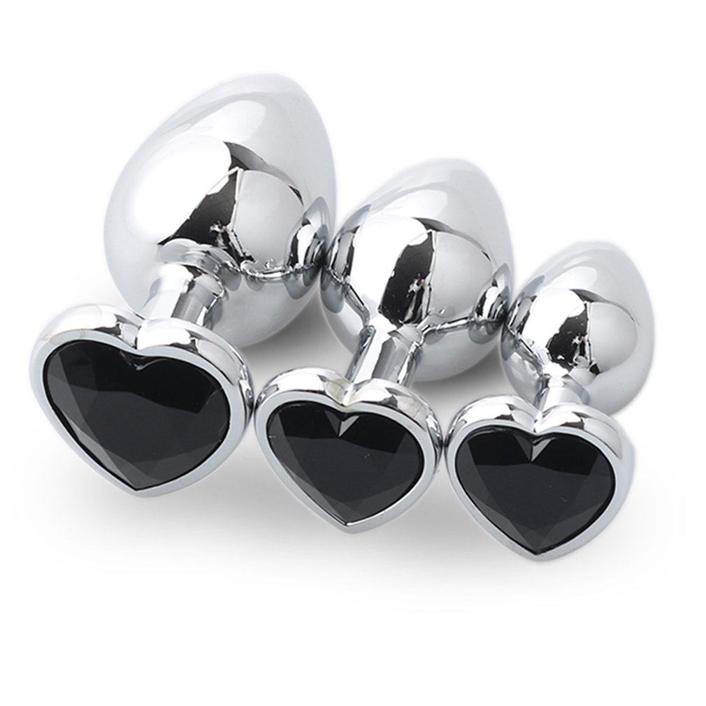 3pcs/set Intimate Jewelry Heart Butt Plug Metal Anal Beads with Crystal Prostate Massage ...
