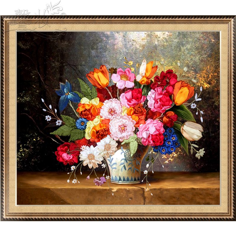 Aliexpress Buy POVUOP Ribbon Embroidery For Living Room Canvas Size 80X70cm Printing Cross Stitch Ks New Man Ting Fang From Reliable