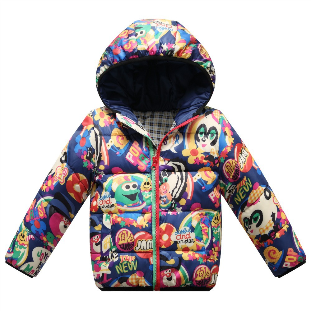 ФОТО New Cartoon Short Children Winter Down Jacket Hooded Duck Down Coat Thick Baby Parkas Winter Jacket For Girls Boys Snowsuits