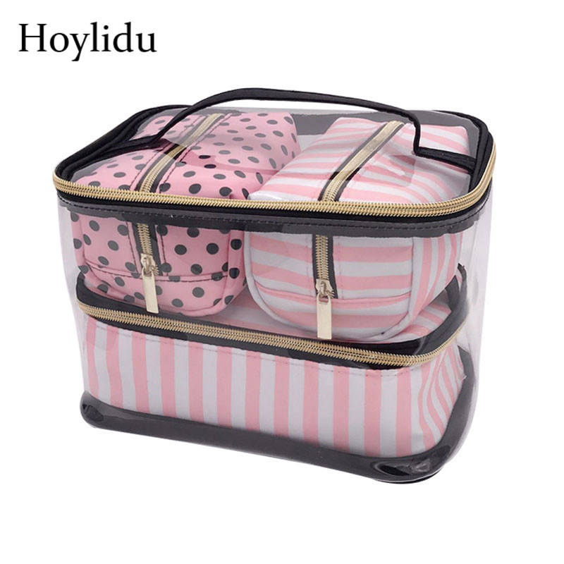 Waterproof PVC Transparent Makeup Bag Women Travel Organizer Pouch Cosmetic Bags Set Kits Necessaire Make Up Toiletry Wash Bag