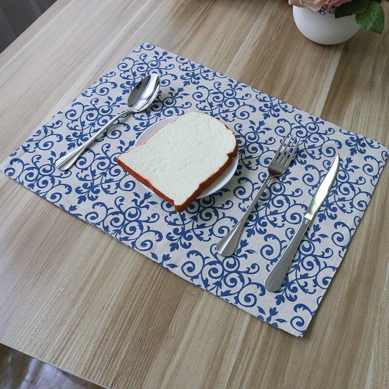 Traditionele Chinese Stijl Blauw En Wit Porselein Doek Tafel Mat Chinese Restaurant Tafel Decoratie Dining Cup Pads Onderzetters