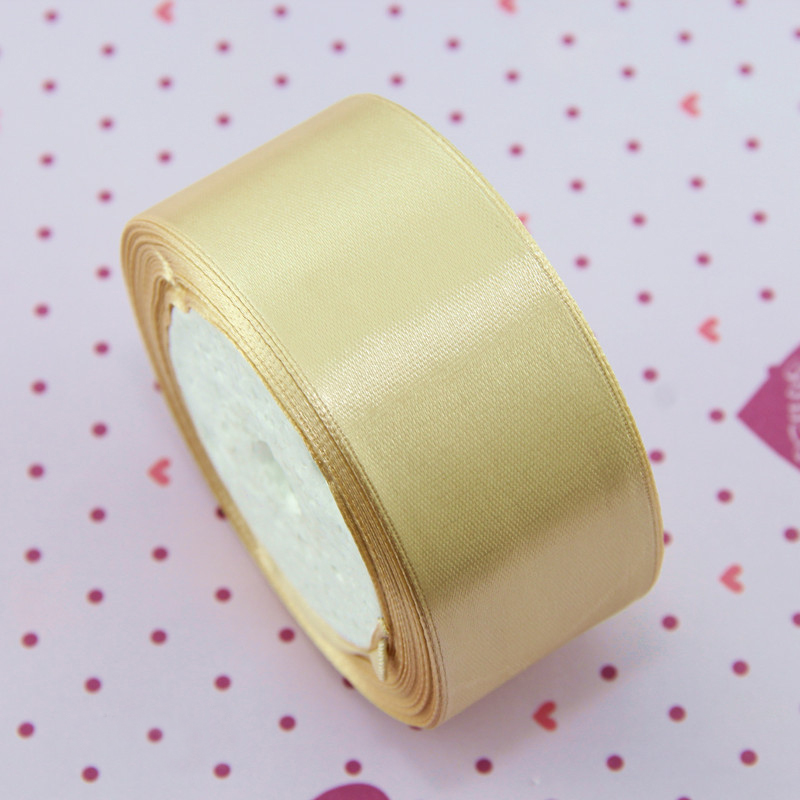 Roll Of Golden Amber 7mm Width Satin Ribbon HA02772 25 Yards 23 Metres