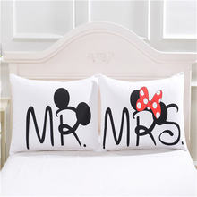 Disney Mickey Minnie Mouse 3D Pillowcases Black White Red 2pcs/Set Couple Lover Gift Mr Mrs Pillow Cover Shams 50x90cm gifts