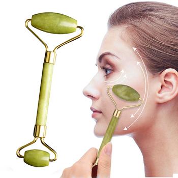Podwójne głowy naturalne twarzy jadeit do masażu rolki podnoszenia odchudzanie ciała zmarszczek maseczka do kryształowy masażer Shaper podnoszenia uroda narzędzie tanie i dobre opinie KENAIYA 14*4 3cm Massage Tool Maszyna wykonana 110 v (不含)-220 v (不含) Brak elektryczne Facial Massage Jade Roller