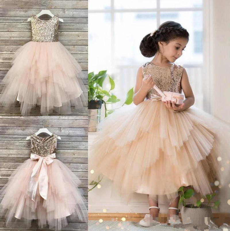Toddler Pageant Gowns with Top Sequined and Sash Zipper Newest   Flower     Girl     Dress   For Special Occasion Tea-Length Vestidos