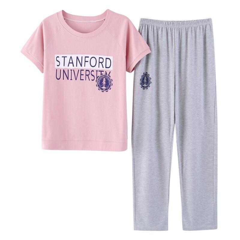 Free Shipping Summer 100%Cotton Women Short Sleeve+Long Pants   Pajamas     Set   Letter Pattern Round Neck Casual Female Sleepwear