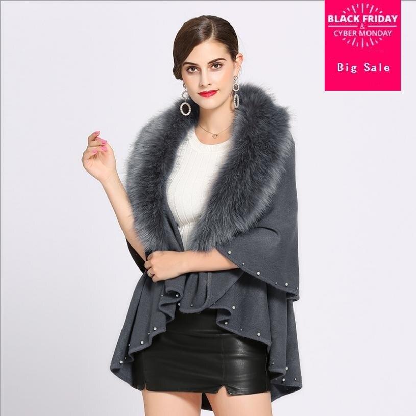 Hiver mode nouvelle marque femmes faux renard fourrure col cape châle cardigan femme perles tricot cardign chandail élégant manteau L1376
