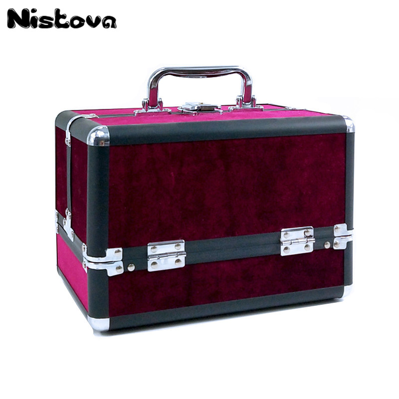 New Professional Aluminum Alloy Large Cosmetic Case Portable Cosmetic Bag Double Open Multi-layer Large Capacity Kit Storage Box professional cosmetic bag portable large capacity manicure beauty storage box cosmetic case waterproof lovely the new travel
