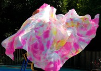 2016 New Design 100 Silk Veil Belly Dance Pink Turquoise White And Other Colors Mixed Veil