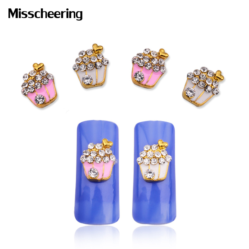 10pcs/pack Cute Flowers Basket Alloy Nail Art Supplies Rhinestone ...