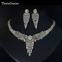 ThreeGraces Royal Clear Cubic Zirconia Large Women Statement Necklace Earrings Indian Jewelry Sets For Wedding Party JS136