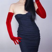 Ladies Velvet Gloves  60cm Super Long Red Over Elbow High Elastic Gold Touch Screen SRHS60