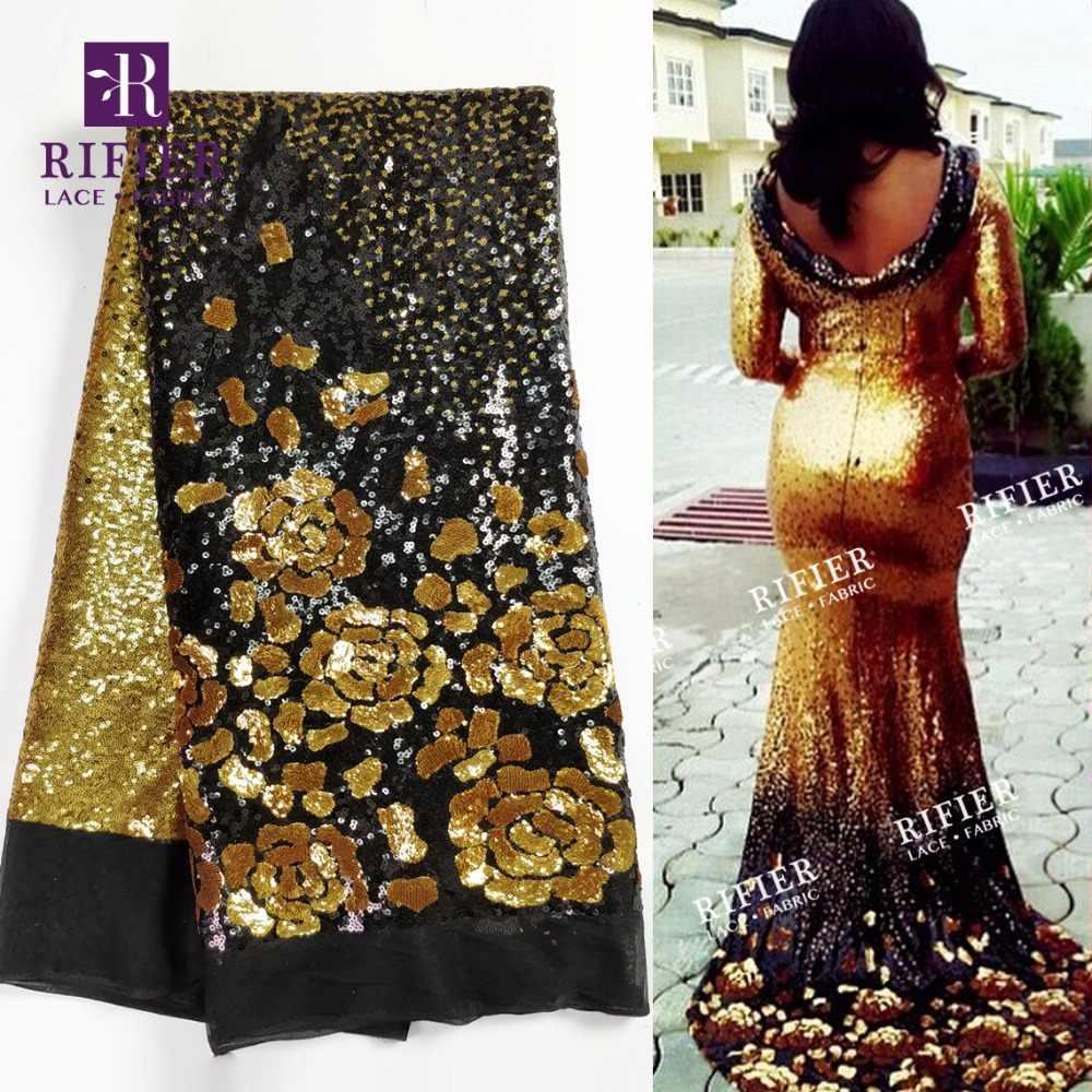 Красивая Цветочная расшитая блестками чистая кружевная ткань золото и другие блестки вышитая свадебная ткань Африканский 2018 новый дизайн талевая кружевная ткань