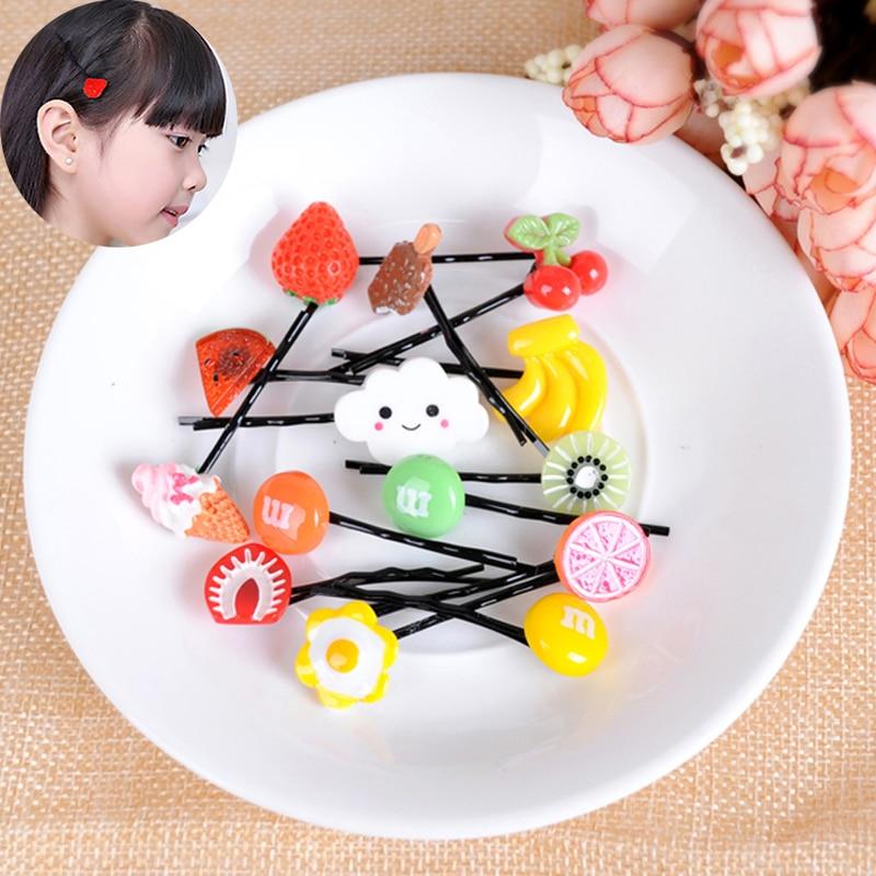 1Pc Children's Hair Accessories Harajuku Fruit Piece Side Clips Simulation Watermelon Lemon Hair Clips Word Clip   Headwear