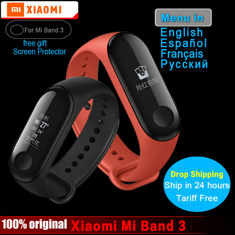 in Stock!!! Xiaomi Mi Band 3 Smart Bracelet 5ATM Waterproof Smart Band OLED Instant Message Caller ID Weather Forecast Wristband