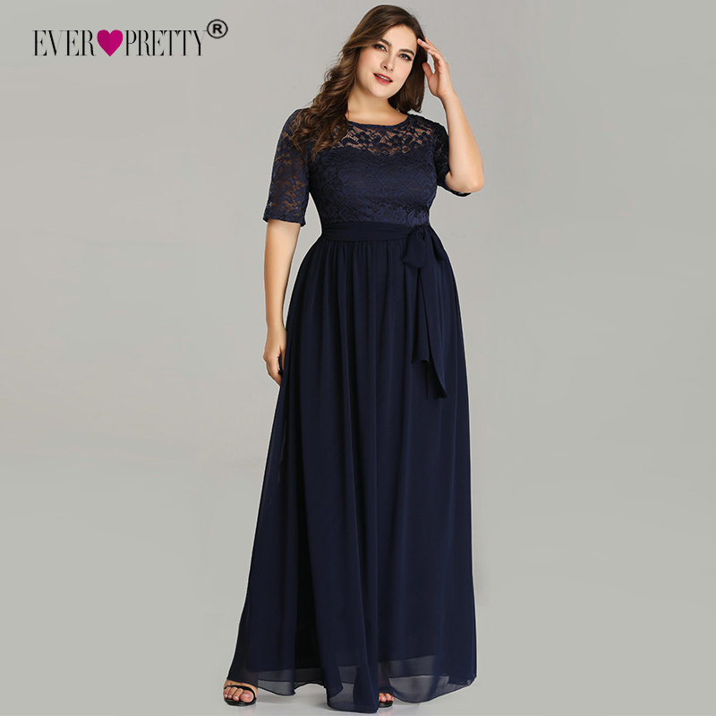 Plus Size Navy Blue   Evening     Dresses   Elegant Long A-line Half Sleeve Lace   Evening   Party Gowns For Wedding Robe De Soiree 2019