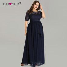 Plus rozmiar granatowe niebieskie suknie wieczorowe elegancka długa linia pół rękawa koronkowe suknie wieczorowe na suknia ślubna De Soiree 2020 tanie tanio Ever-Pretty Scoop NONE Długość podłogi Poliester -Line Formalna wieczór Koronki Skrzydeł REGULAR Połowa EZ07624NB