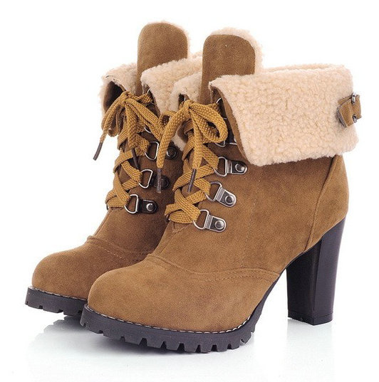 dd96ec86e09 Free Shipping,Cuffed Fur Trim Lace Up High Heel Ankle Boots,Euro 39 ...