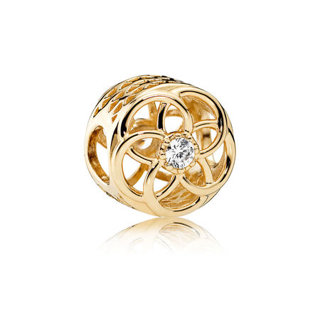 A962 Loving Bloom Charm, 14K Gold & Clear CZ
