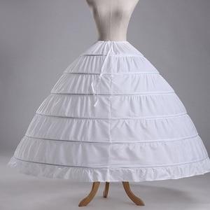 Image 2 - 6 Hoops White Petticoats Bustle Ball Gown Wedding Dress Underskirt Bridal Crinolines