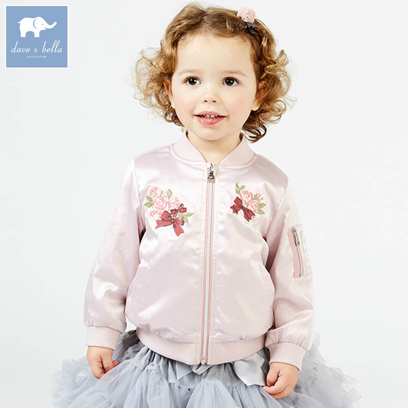 DBM7620 dave bella spring infant baby girl fashion floral coats children cute top kids high quality clothes