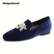 Plus Size 11 12 13 EUR 45 46 47 Top Quality Mens Velvet Flock Rhinestone Genuine Leather Slip on Loafers Driving Car Shoes