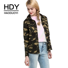 HDY Haoduoyi Womens Green Camouflage Pockets Jacket Army Military Button Up Basic Coat Slim Fit Fashion Female Jackets Outwears