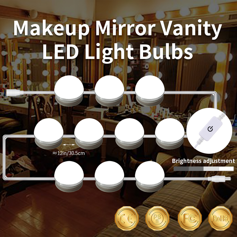 Hollywood LED Vanity Mirror Lamp Dressing Table Led 12V Bulb Stepless Dimmable Makeup Light 6 10 14Bulbs Led Wall Lamp Bathroom in LED Indoor Wall Lamps from Lights Lighting