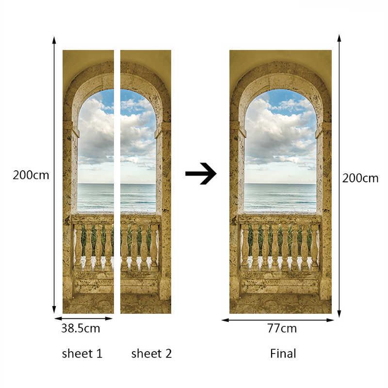 2pcs/set White Cloud Door Stickers Landscape Style Wallpaper Bedroom Living Room Waterproof Decals Home Decor