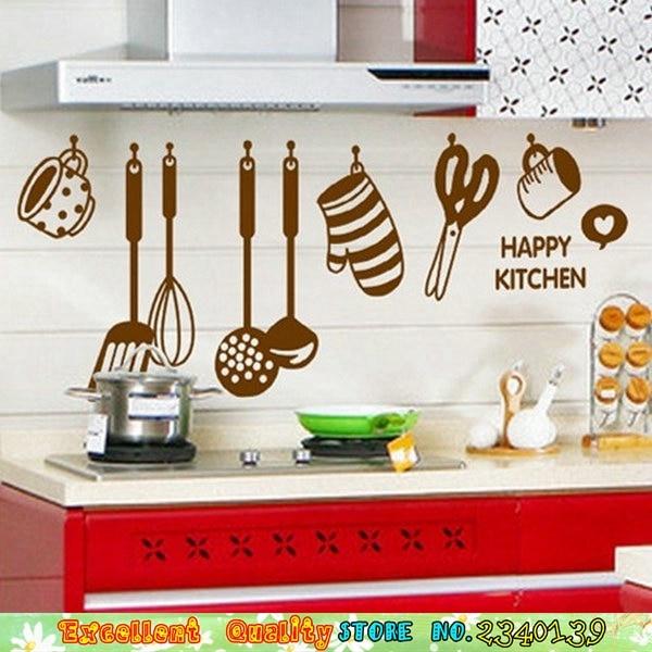 Kochen werkzeug muster wandaufkleber diy küche wand kunst ...