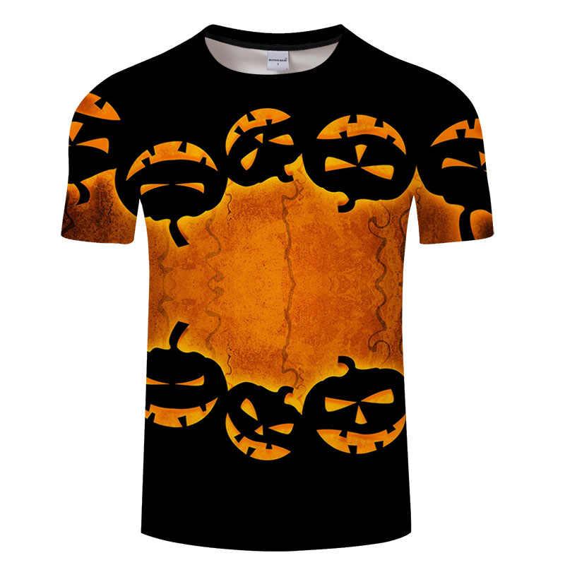 Regalo de Halloween calabaza calavera jack impresión camiseta divertida camisetas de manga corta hombres/mujeres Tops hombres camiseta 3D tamaño asiático camiseta