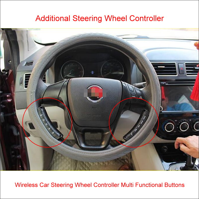 Wireless Car Steering Wheel Control Remote Multi Functional Buttons For Aftermarket Car Radio CD DVD player GPS Navigation etc.
