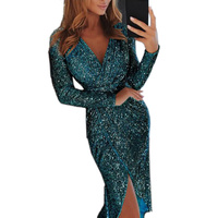 Hot Sale Women Banquet Gown Deep V Neck Long Sleeves High Waist Bodycon Shining Dress CXZ