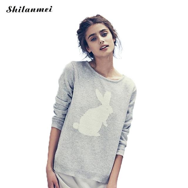 Sweater Women Embroidery Knitted Women Sweater Pullover Winter Rabbit Patchwork Geometric Hit Long Sleeve Casual Lady Sweater