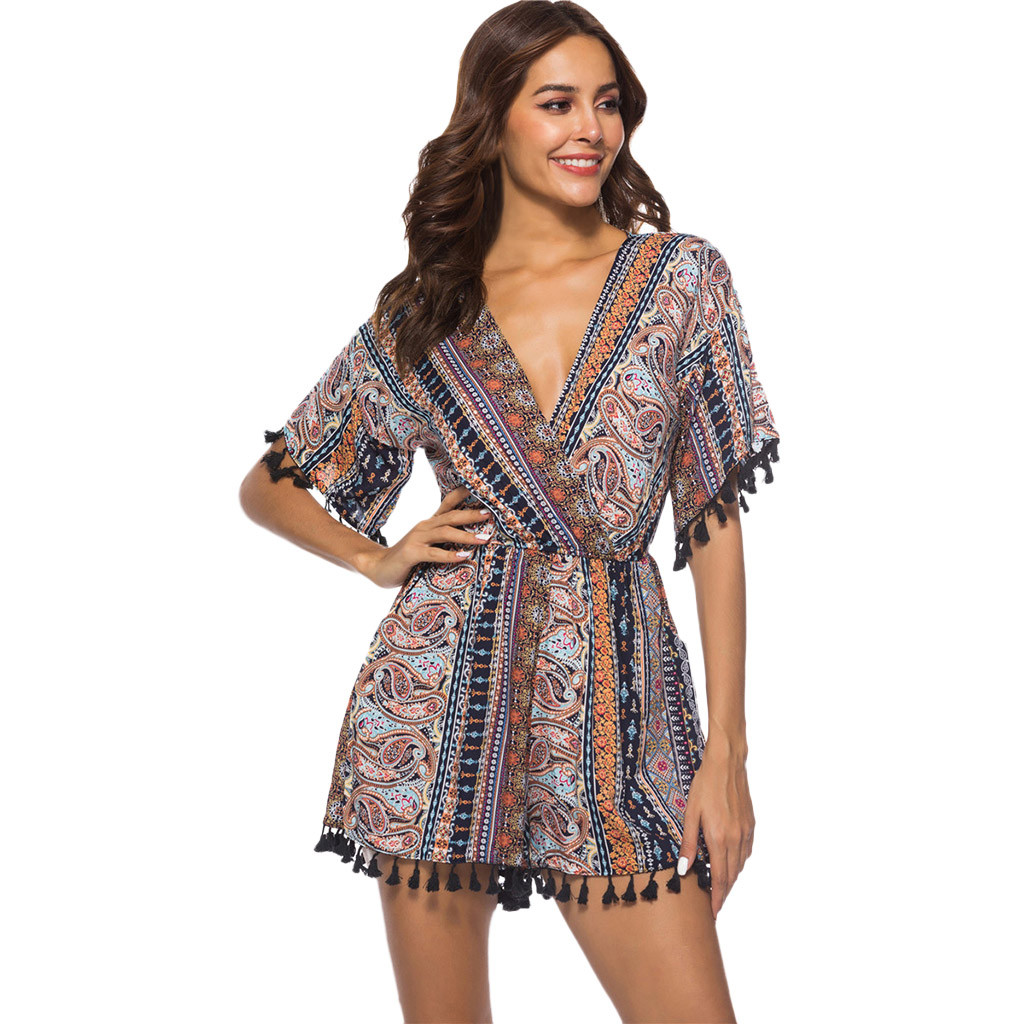 Summer Jumpsuit Rompers Womens Ladies Overalls Print Sexy Bohemian Holiday Combinaison Femme