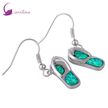 Ravishing 925 stamp silver jewelry Shoe shape Green Opal earrings dangle earrings fashion jewelry for women's E405