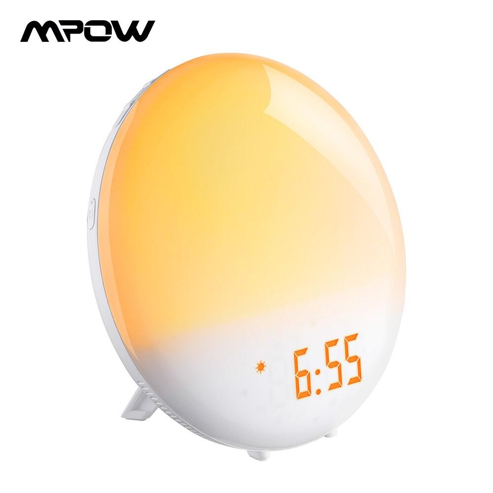 Mpow Led réveil avec deux alarmes FM Radio lumière lever du soleil Simulation 6 sons naturels fonction Snooze et lampe de chevet