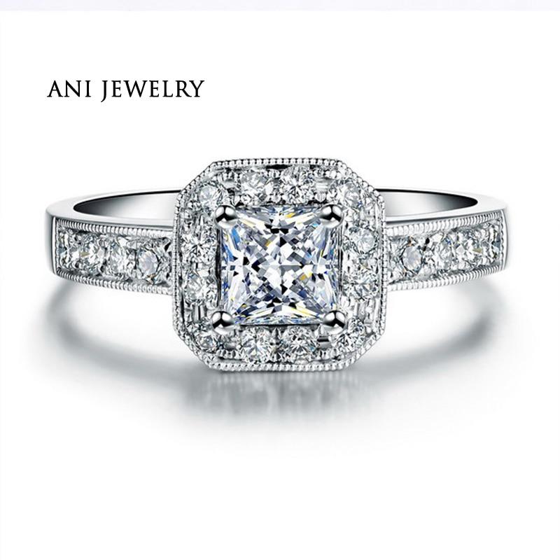 ANI 18K Белое Золото (AU750) женское свадебное кольцо 0,59 CT сертифицированное I/SI1 принцесса Halo обручальные кольца Роскошные ювелирные изделия по и