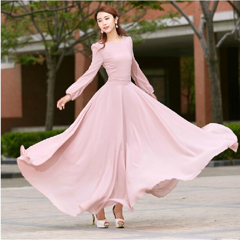 b13bd3c9d86 Vestido High Quality New Fashion 2018 Designer Runway Vintage Maxi Dress  Women Long Sleeve chiffon dress summer pink long dress-in Dresses from  Women s ...
